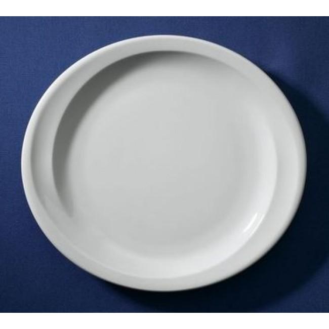 Assiette plate ovale blanche 28,5x25,5cm en porcelaine - Elypse - Sarreguemines