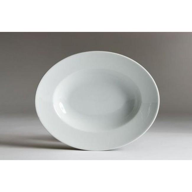 Assiette à pâtes ovale blanche 32cm