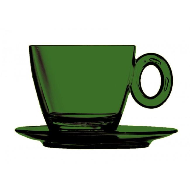 Tasse et sous-tasse à thé émeraude 15cl en polycarbonate - Lot de 6