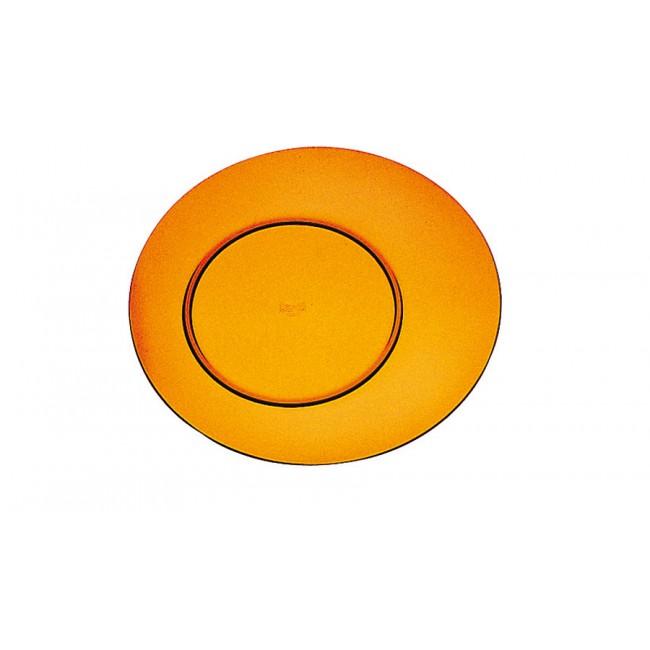 Assiette plate ambre Ø27cm en polycarbonate - Lot de 6
