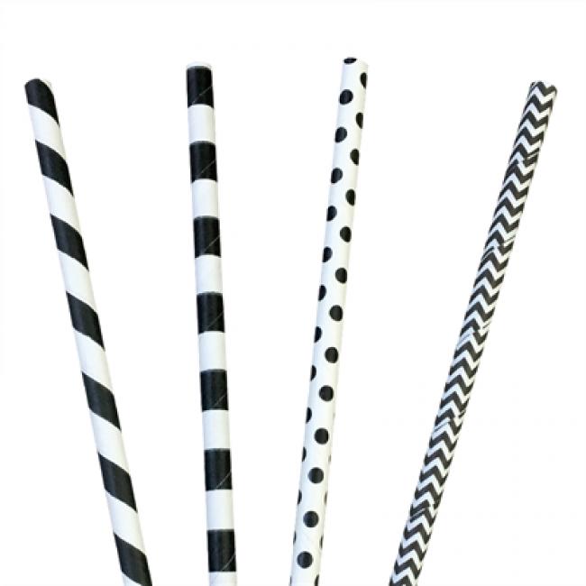 Paille en papier / chalumeau droite blanche avec rayures et à pois noires recyclable 0.6 x 20cm - Lot de 200 - Pailles - AZ boutique