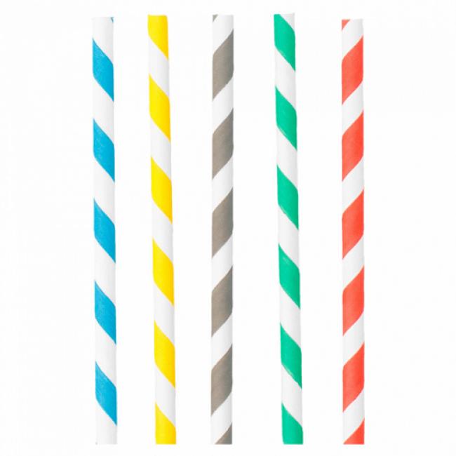Paille en papier / chalumeau droite blanche avec rayures recyclable 0.8 x 23.5cm - Lot de 100 - Pailles decorees - AZ boutique