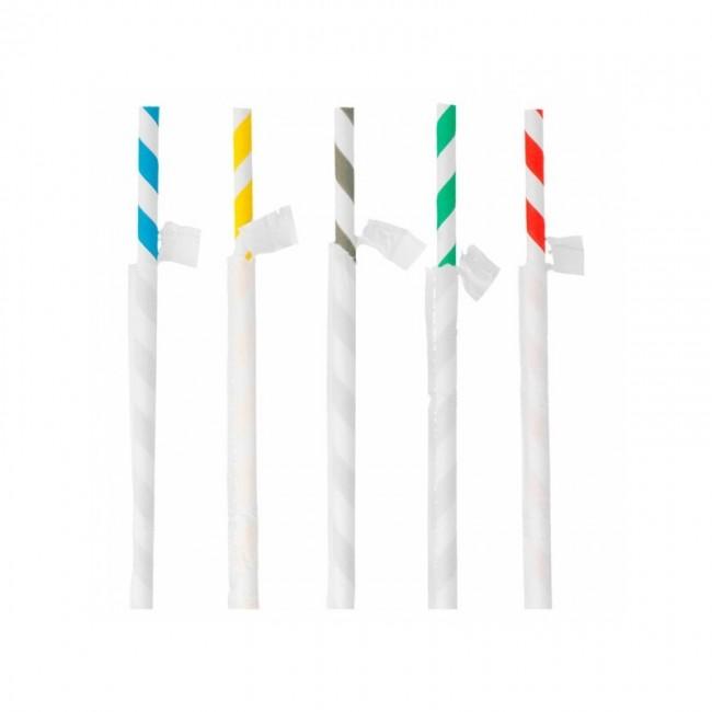 Paille flexible en papier / chalumeau blanche avec rayures recyclable en sachet 0.6 x 23cm - Lot de 250 - Pailles - AZ boutique