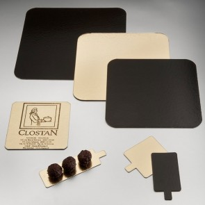 Carton carré or et noir  pour pâtisserie - 20 x 20cm - Lot de 50 - Carton à pâtisserie - AZ Boutique