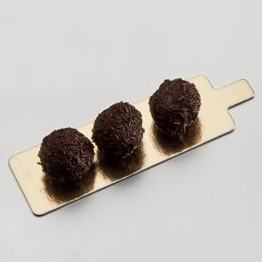 languette rectangle or et noire en carton - 4,5 x 13cm - carton a patisserie - az boutique