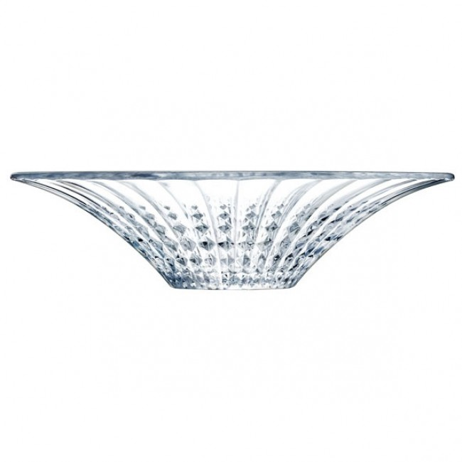 Coupe à fruits ronde 36 cm en verre krysta transparent - Lady Diamond - Eclat Cristal d'Arques